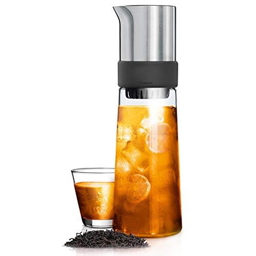 blomus -TEA-JAY- Eistee-Zubereiter aus Glas / mattiertem Edelstahl, 800 ml Fassungsvermögen, inkl Tee, mit Komfort-Brühfunktion, Eisteekanne, moderne Teekaraffe (H / B / T: 30 x 9 x 9 cm, Glas, 63538)