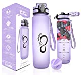 Live Infinitely - Botella de Agua sin BPA con Marcador de Tiempo, Pantalla infusora de Frutas y balón Mezclador, Tapa Superior con Bloqueo y Revestimiento de Goma Duradero, 34 Ounce, Lila
