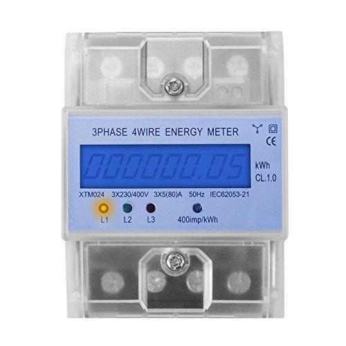 XTM024 - Digitaler Stromzähler Drehstromzähler Wattmeter für DIN Hutschiene, Energiemessgerät mit Wattanzeige 50Hz 5(80) A 3x230V/400V