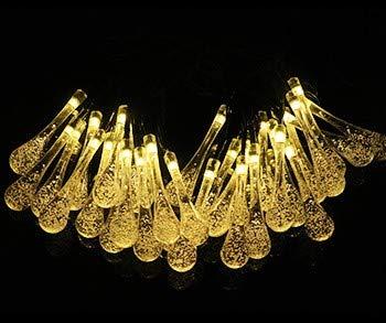 1pc 6.5M 30 luces LED de hadas de energía solar 8 modos de cadena de luz 30 gotas de agua impermeable ideal para Navidad, jardín, césped y terraza