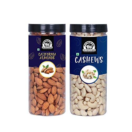 WONDERLAND FOODS (DEVICE) Premium Dry Fruits Combo Pack of (500g Almonds + 500g Cashews, 1 Kg)