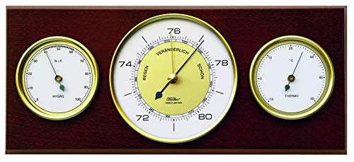 Fischer 9103-22 - Re-Design Innen-Wetterstation - Thermometer, Barometer, Hygrometer im Vintage-Design Made in Germany