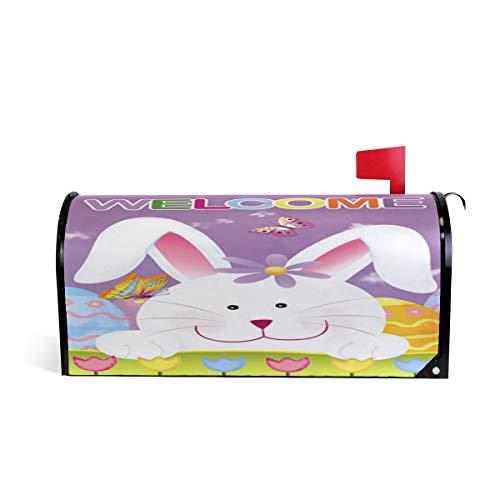 Wamika Happy Easter Bunny Boîte aux Lettres aimantée pour boîte aux Lettres Motif Papillon et Fleurs 52.6x45.8cm Multicolore
