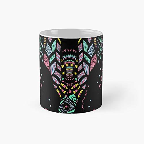 Taza clásica con diseño de elefante Zen Yoga – Colorido adornado con líneas estilizadas | El mejor regalo divertidas tazas de café de 325 ml