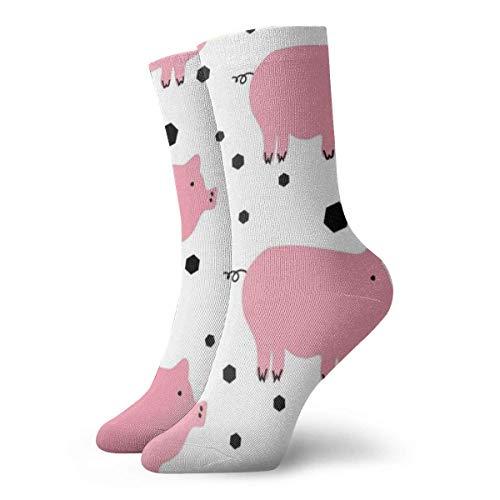 Unisex-Socken mit süßem Schweinchen, atmungsaktiv, für Laufen, Wandern, Wochenende, Sport, Sport, Sportsocken, kurz, Crew-Socken, 30 cm