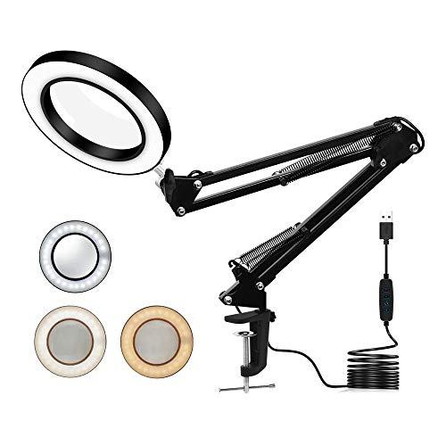 Lampada con lente d'ingrandimento a LED, braccio orientabile con luce, 3 modalità di colore, dimmerabile, ingrandimento 8x, lampada da tavolo per saldatura, cucito, lettura