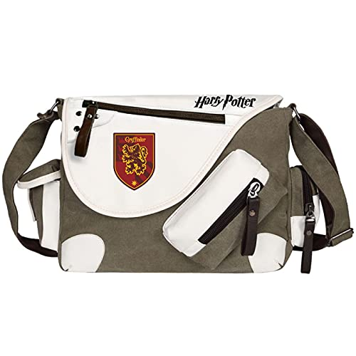 QLma Harry Potter School Bag Unisex Canvas Messenger Bag College/Leisure/Travel/Hiking Shoulder Bag 35x26x11cm Green-G