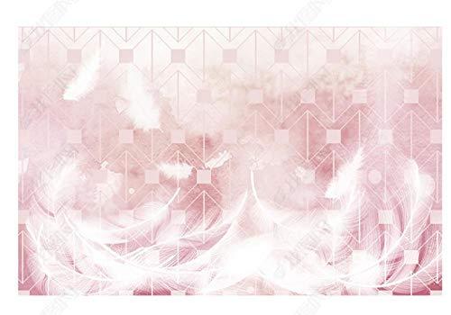 Papel Pintado Pared Papel Pared Fondo Geométrico Rosa Con Plumas Blancas Papel Pintado 3D Mural Pared Fotomurales Decorativos Pared Murales 400x280cm