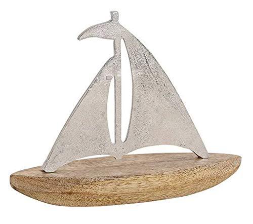 Metall Aufsteller Mangoholz ┼ Anker oder Segel-Boot/Schiff ┼ Maritime Deko für Haus und Bad (Schiff Gross)