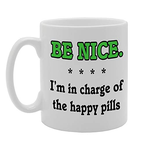 """MG706 BE Niza - Taza de cerámica con texto en inglés """"I'm in Charge of The Happy Pills"""""""