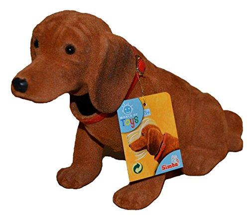 Wackel Waldi Dackel Hund Wackelkopf Figur für Auto Hutablage Deko Führerschein (Hellbraun)