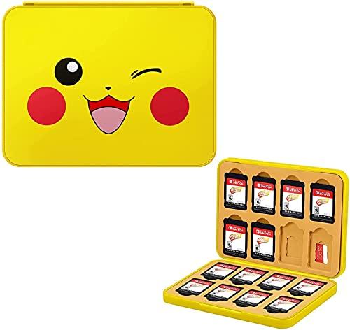JINGDU Game Card Case für Nintendo Switch, robuste & tragbare 32 Slots Spiele Aufbewahrungsbox mit 16 Game Card Slots und 16 Micro SD Card Slots (Pikachu)