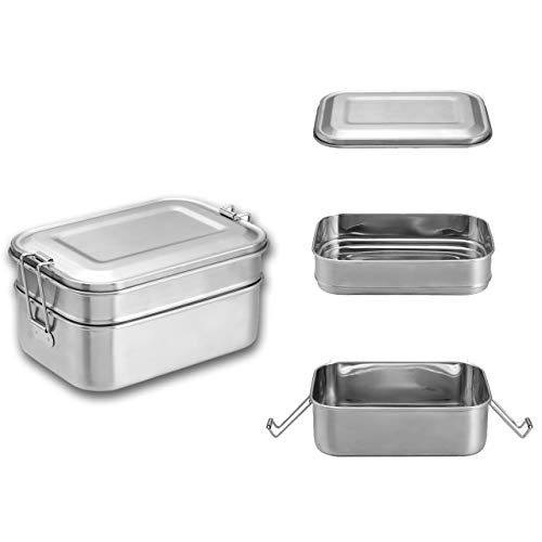 Bento Lunch Box for Kids&Adults WarmHut Stainless Steel Food Containers Metal Food Storage Lunch box Eco Friendly BPA-Free for School Office Camping Meal Prep45OZ1340ML