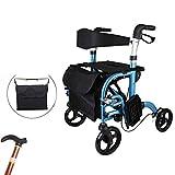 MBEN Bicicleta Plegable Ligera, Asiento de 4 Ruedas con Pedales Deluxe Edition 2 en 1 Silla de Ruedas, caña, almacenaje Plegable Regulable en Altura, Equipo Auxiliar Adaptado a la Movilidad