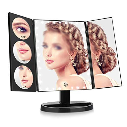 OMLTER Tres Pliegue Escritorio Espejo Maquillaje, 360° Rotación Espejo con 35 Led Luces, 10x / 5X / 3X / 1x Ampliación - Fuente Energía Dual, Belleza Espejo por Maquillaje Y Afeitado,Negro