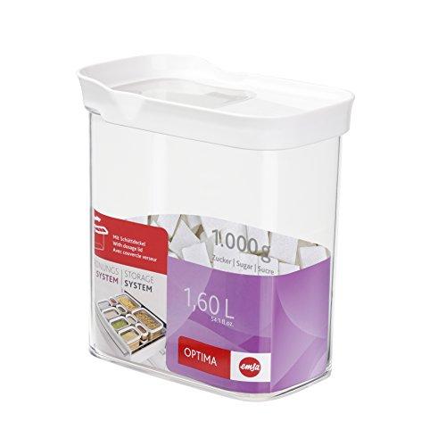 emsa Schüttdose mit Schiebedeckel, rechteckig, 1,60 L Schttdose/Trockenvorratsdose Optima, 1,6 Liter, Plastik, transparent/weiß, 16 x 10 x 17,5 cm