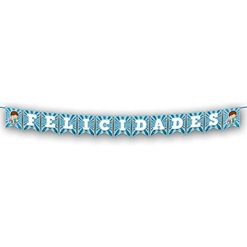 Guirnalda Personalizada Con Nombre - Felicidades Azul