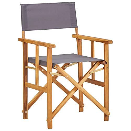 vidaXL Bois Massif d'Acacia Chaise de Metteur en Scène Chaise de Camping Chaise d'Extérieur Chaise de Jardin Plage Terrain de Sport
