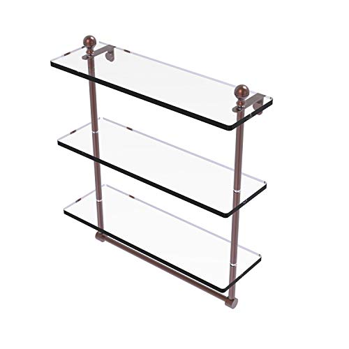 Allied Brass MA-5/16TB Mambo Collection 16 Inch Triple Tiered Integrated Towel Bar Glass Shelf, Antique Copper