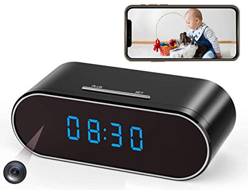 Hidden Spy Camera Clock WiFi Wireless 1080P Nanny Cam and Security Cameras with Motion Detection and Night Vision, IMINI88 Perfect 140 Angle Camera Clock for Home Office