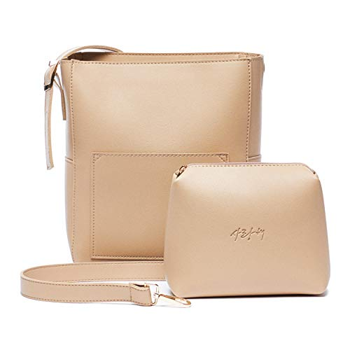 Crossbody Lightweight Medium Leather Bag and Small Cosmetic Makeup Pouch Set with Korean word (LOVE) Adjustable Strap with Purse, Travel bag, Daily bag, Korean gift for women (Beige)