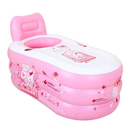 Faltbare Schlauchboot Thick Erwachsene Badewanne zusammenklappbarer Kinderfrüherziehung Pool Spa Wasser Schönheit PVC Dusche Badewanne mit Handpumpe, Rosa
