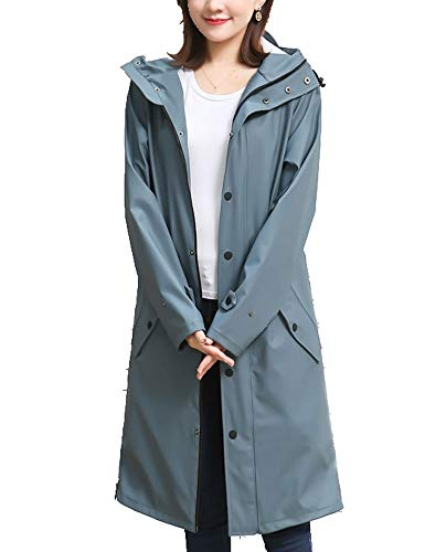 HJQJPYS666 Regenmantel, Regenmantel für Damen, wasserdichte High-End-Jacke für Erwachsene, geeignet für Streetfashion, Langstreckenreiten und Outdoor-Kletterponcho (Color : Gray, Size : L)