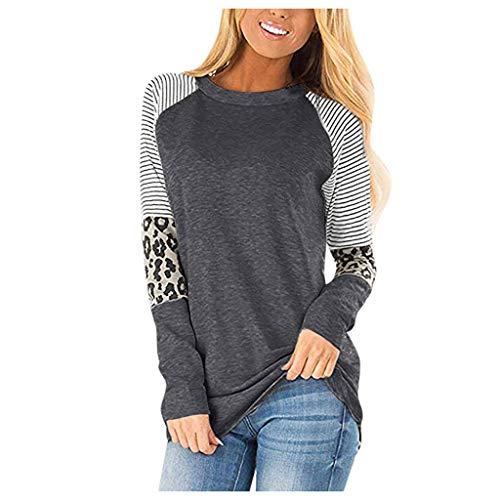 Xmiral Pullover Damen Leopard Patchwork Bluse Sweatshirt Lange Ärmel Rundhals T-Shirt Einfarbiger...