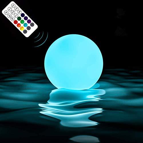 LOFTEK Poollicht LED Licht RGB Wasserdichte Poolbeleuchtung Farbwechsel Schwimmende Kugel Lampe Nachtlicht Dekolicht mit RF Fernbedienung für Pool Garten Baum Teich Party Fest, 1 Stück