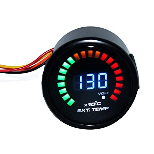 XuCesfs Auto-Auspuffmesser, 12 V, modifiziertes Instrument, Abgaszähler, Farbanzeige, Licht für Benzin-Autos