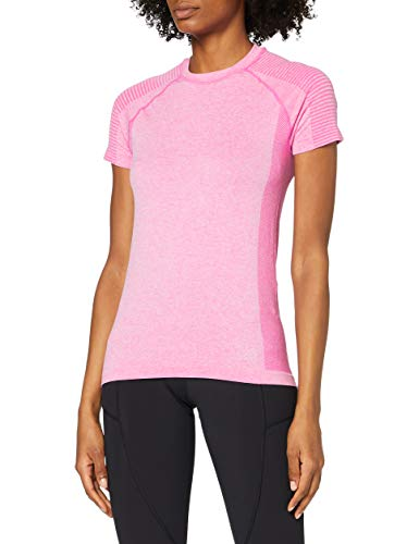 Amazon-Marke: AURIQUE Damen Nahtloses Sport T-Shirt, Pink (Pink Marl), 40, Label:L