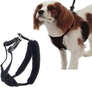 L/XL Black Anti-Pull Mesh Dog Harness Fits Necks 16