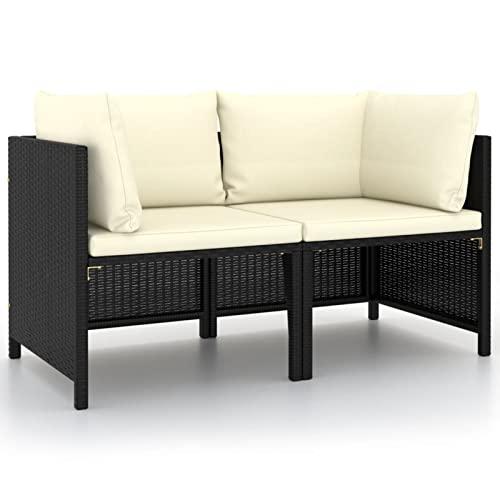 Gawany Sofá de jardín 2 plazas con Cojines ratán Sofa de Palets Interior/Exterior Sillon Palets/Sofa para Patio sintético Negro 60 x 60 x 60 cm