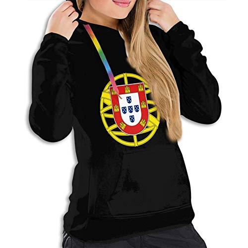 Sudadera con capucha de la bandera portuguesa para mujer, para invierno, al aire libre, color negro