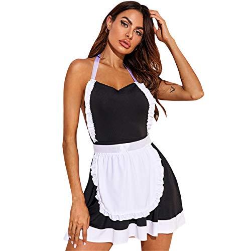 YeeHoo Picardias Mujer Sexy Disfraz Erotico Sirvienta Maid Cosplay Francés Travieso Lindo Vestido de Encaje Lencería