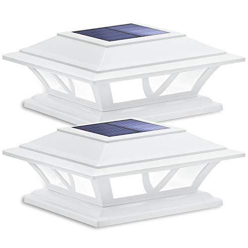 Siedinlar Solar Post Lights Outdoor 2 Modes LED Fence Deck Cap Light for 4x4 5x5 6x6 Posts Garden Patio Decoration Warm White/Cool White Lighting White (2 Pack)