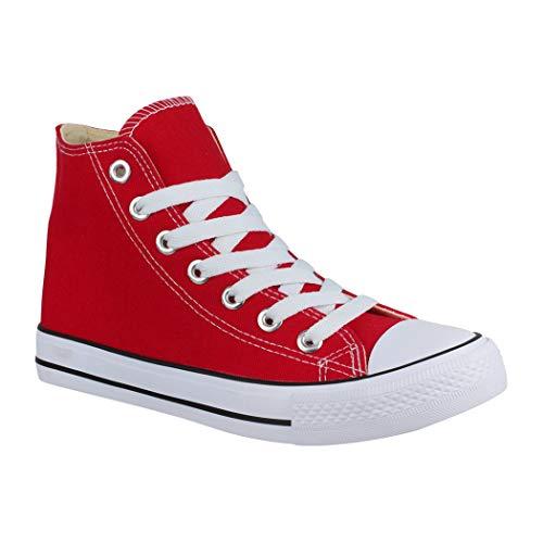 Elara Unisex Sneaker Bequeme Sportschuhe für Damen und Herren Low top Turnschuh Textil Schuhe Red-43