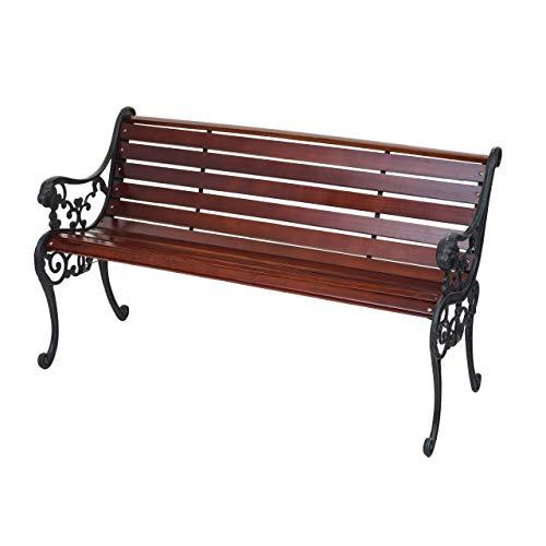 Mendler Gartenbank HWC-F98, Sitzbank Parkbank Holzbank, 2-Sitzer Gusseisen Holz 125cm 20kg ~ braun