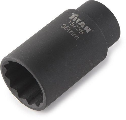 """Titan 15236 36 mm 1/2"""" Drive 12 Point Axle Nut Socket"""