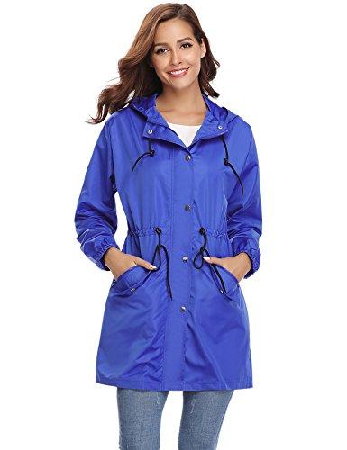 AMN00105_DBL_S Abollria Damen Regenjacke Leicht Outdoor Windbreaker mit Einstellbare Kapuze und Eingrifftaschen Dünne Übergangjacke Wasserdicht
