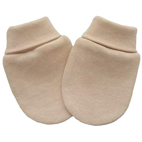 Coton bio tricot tissu nouveau-né anti-rayures moufles mitaines gants bébé, couleur marron clair (3-6 mois, marron clair)