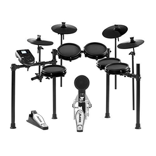 Alesis Drums Nitro Mesh Kit Bundle - Zehnteiliges Mesh E-Drum Set mit 385 elektronischen Drum Kit Sounds und einem stabilen Aluminium-Rack