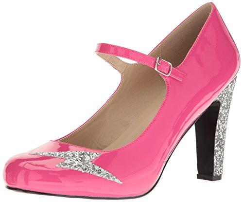 Pleaser Damen Queen02/Hp-Sg Kleid Pumps, Pink (H. Pink Lack-Silber Glitzer), 47 EU
