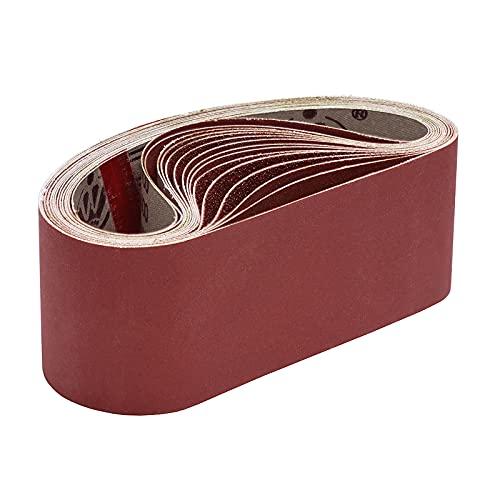 KITEOAGE Bandas de Lija 15 Piezas 75x533 mm Papele de Lija, Bandas de Lijado 3 x Granos 80/120/150/240/400 Banda Abrasiva para Lijadora de Banda