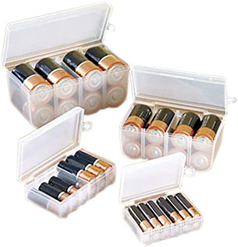 Lock & Store 4 Battery Storage Containers Organizers Set Store Plastic Case Box AA AAA C D