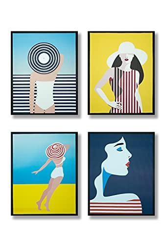 Set da 4 Quadri su tela con cornice interna in Legno Stile Summer Donna, Stampa su Tela Canvas, ogni Quadro su Tela misura 40x50 cm (Girl)