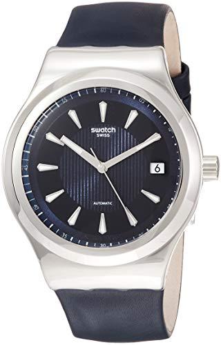 Swatch Herren Analog Automatik Uhr mit Leder Armband YIS420