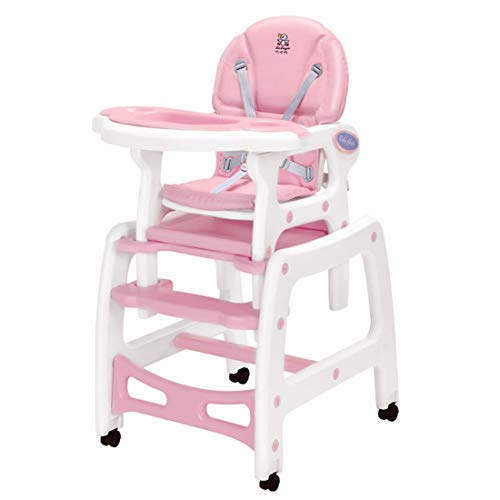 LADUO 3-in-1 Portable Highchair,Toddler Booster Seat,Baby Feeding Chair with Tray Pink Wheel /& Cushion High Chair