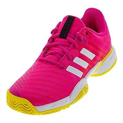 adidas Unisex-Kid's Barricade 2018 Running Shoe, Shock Pink/White/Shock Yellow, 2 M US Big Kid