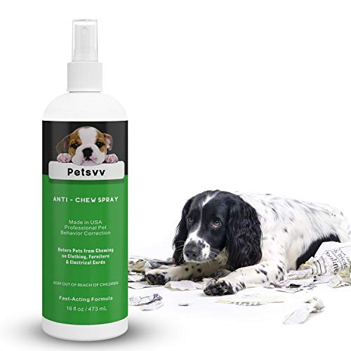Pets vv No Chew Spray Deterrent for Dogs, Anti Chew Spray for Dogs Bitter Corrector to Stop Biting Non-Toxic Alcohol Free Made in USA - 16oz